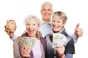 Happy senior people with dollar bills, Costa Rica All-on-4 Dental Solutions